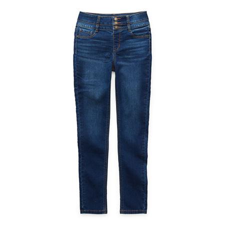 Arizona Stacked Waist Little & Big Girls High Rise Skinny Fit Jean, 12.5 Plus , Blue