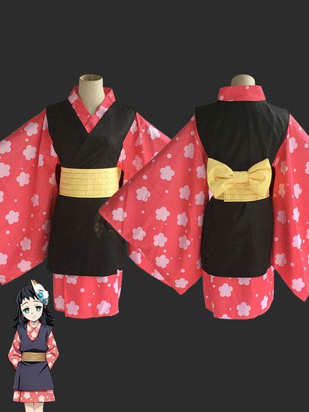 Milanoo Makomo Cosplay Costume Demon Slayer: Kimetsu No Yaiba Red Kimono Cosplay Set