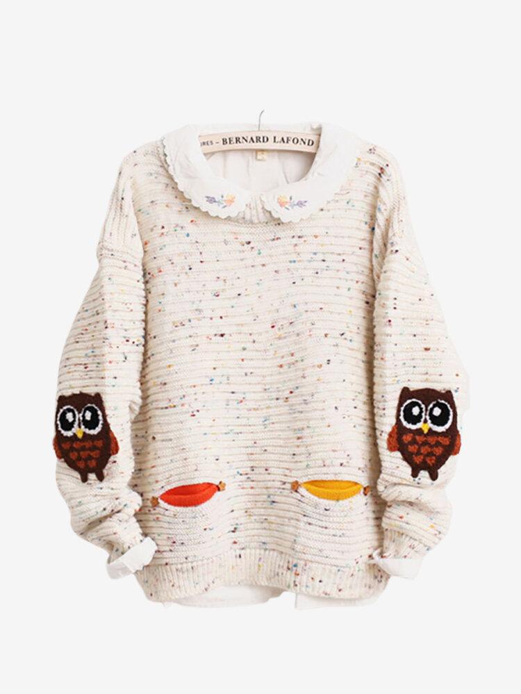 Casual Owl Pattern Print Long Sleeve O-neck Women Sweaters