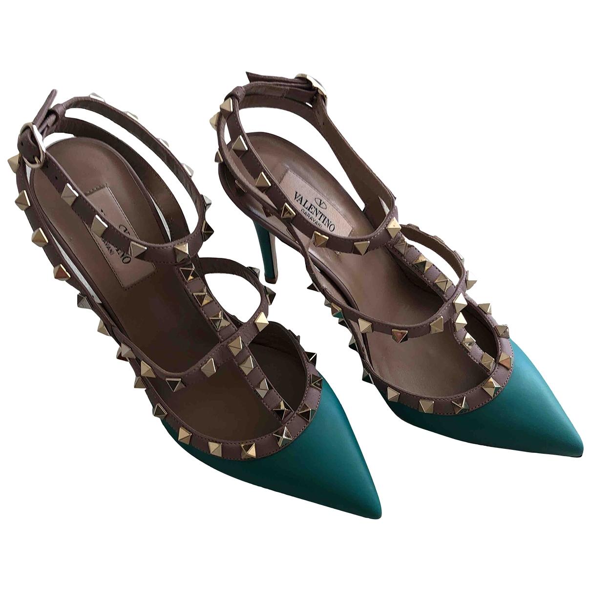 Valentino Garavani Rockstud Turquoise Leather Heels for Women 38.5 EU