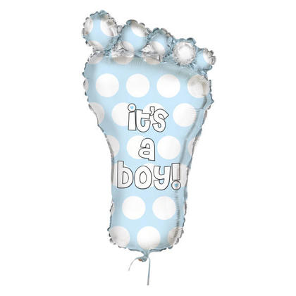 Baby Shower Foil Balloon Blue Baby Footprint It's a Boy Giant 31