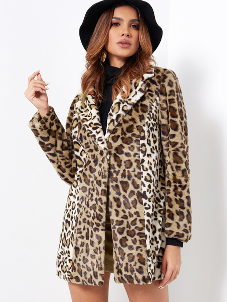 Yoins Leopard Print Lapel Collar Long Sleeved Fluffy Coat