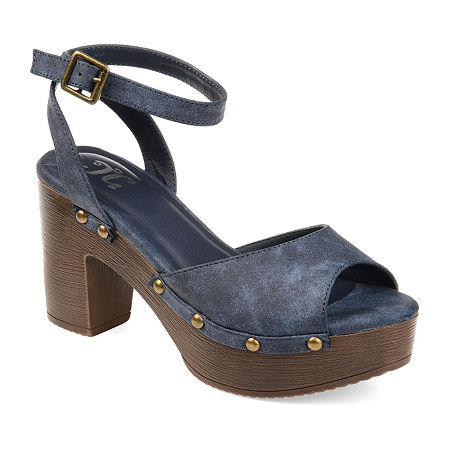 Journee Collection Womens Lorica Buckle Open Toe Clogs, 6 Medium, Blue