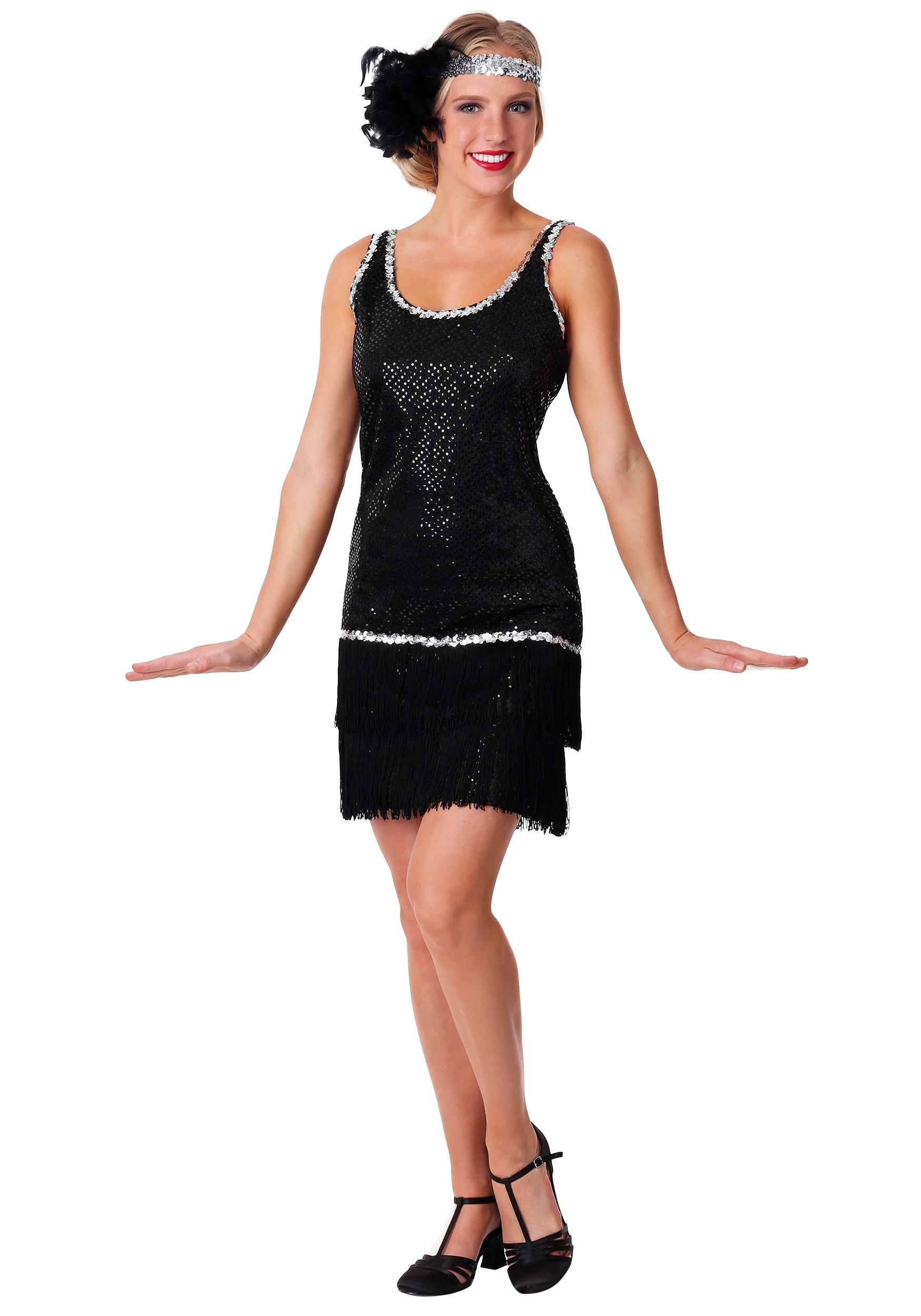 Women's Sequin & Fringe Black Flapper Dress Costume