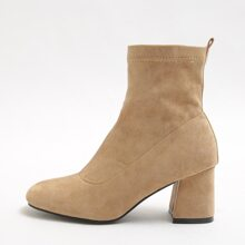 Chunky Heeled Suede Ankle Boots