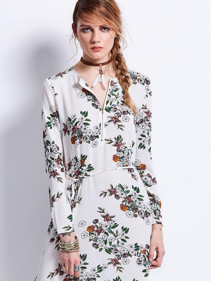 Ericdress Round Neck Flower Print Zipper Maxi Dress