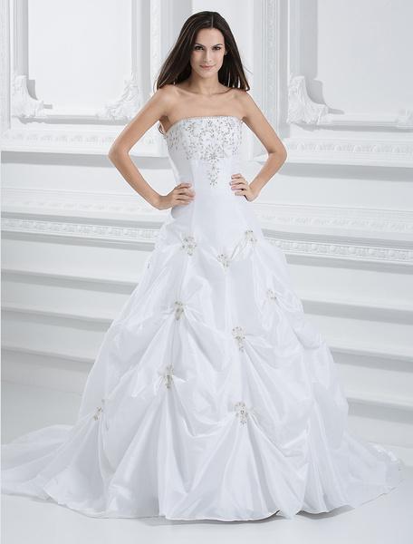Milanoo Beautiful White A-line Starpless Ruched Sweep Taffeta Wedding Dress
