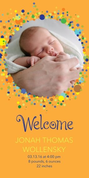 Newborn Flat Glossy Photo Paper Cards with Envelopes, 4x8, Card & Stationery -Bubbly Baby Announcement Boy
