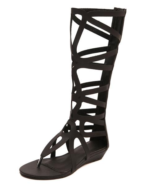 Milanoo Women Gladiator Sandals Flip Flop Sandals Thong Cut Out Summer Boots