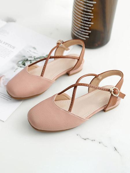 Milanoo Flower Girl Shoes White PU Leather Round Toe Slingbacks Flat Shoes