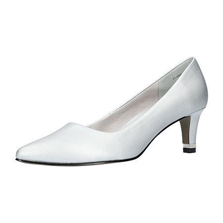 Easy Street Womens Pointed Pumps Spike Heel, 8 1/2 Medium, Silver