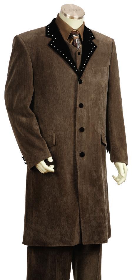 4 Button Brown Velvet Suit 45 Inch Long Jacket and Vest Mens