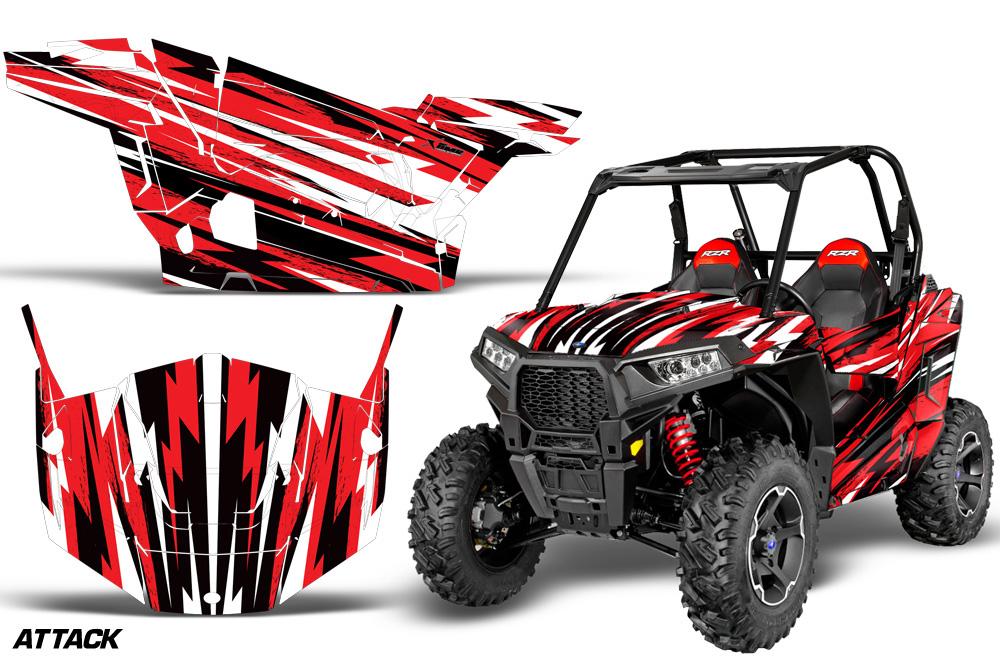 AMR Racing  Full Custom UTV Graphics Decal Kit Wrap Attack Red Polaris RZR S 900 15-16