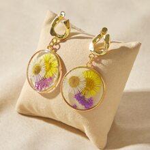 1pair Floral Pattern Round Drop Earrings