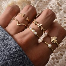 6pcs Faux Pearl Decor Ring