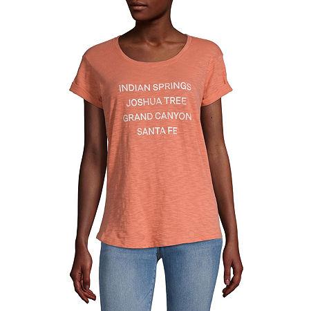 a.n.a-Womens Round Neck Short Sleeve T-Shirt, Xx-large , Orange
