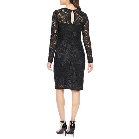 Blu Sage Long Sleeve Lace Sheath Dress, 4 , Black