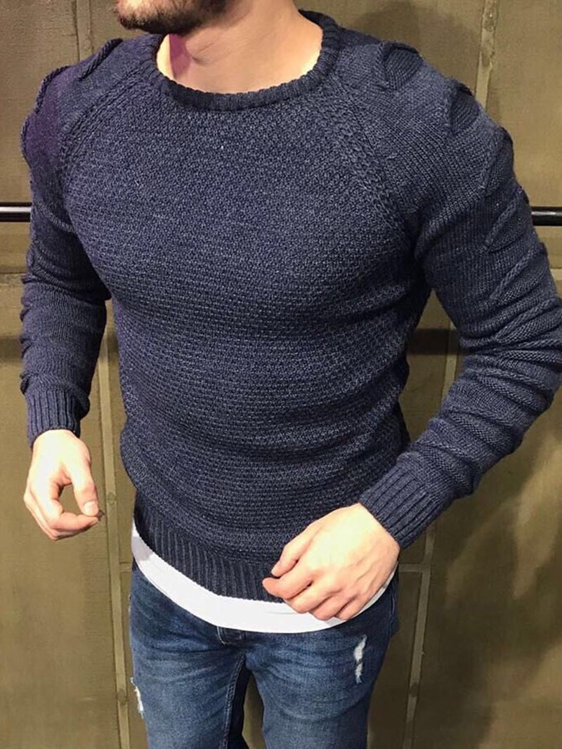 Ericdress Plain Round Neck Standard European Men's Slim Sweater