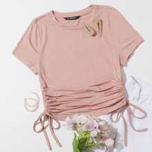 Drawstring Side Solid Tee