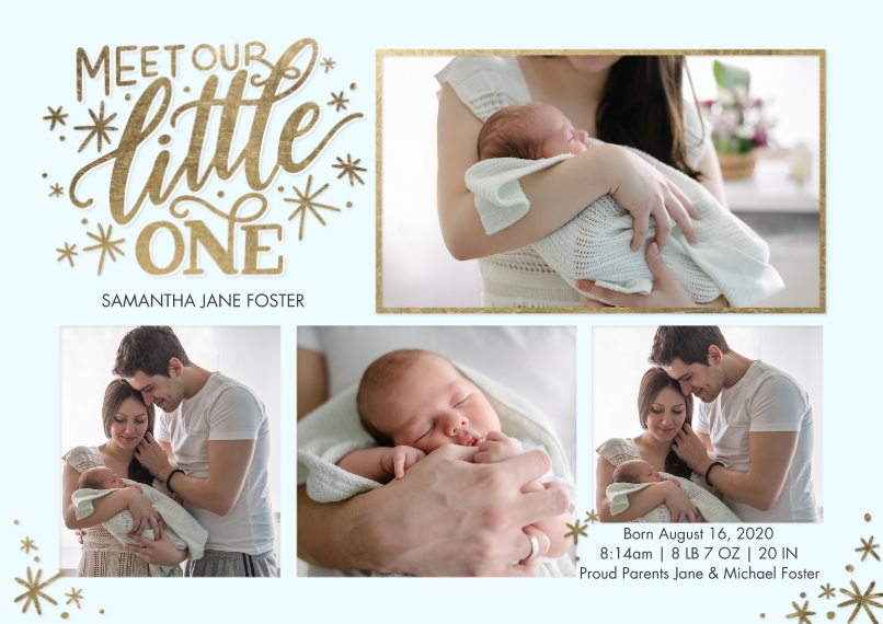 Baby Announcements 5x7 Cards, Premium Cardstock 120lb with Elegant Corners, Card & Stationery -Baby Gold Lettering by Tumbalina