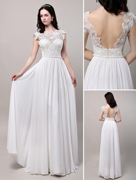 Milanoo Backless Lace Chiffon Beach Boho Bridal Gown