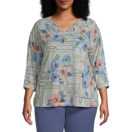 Alfred Dunner Plus Palo Alto-Womens U Neck 3/4 Sleeve T-Shirt, 2x , Beige