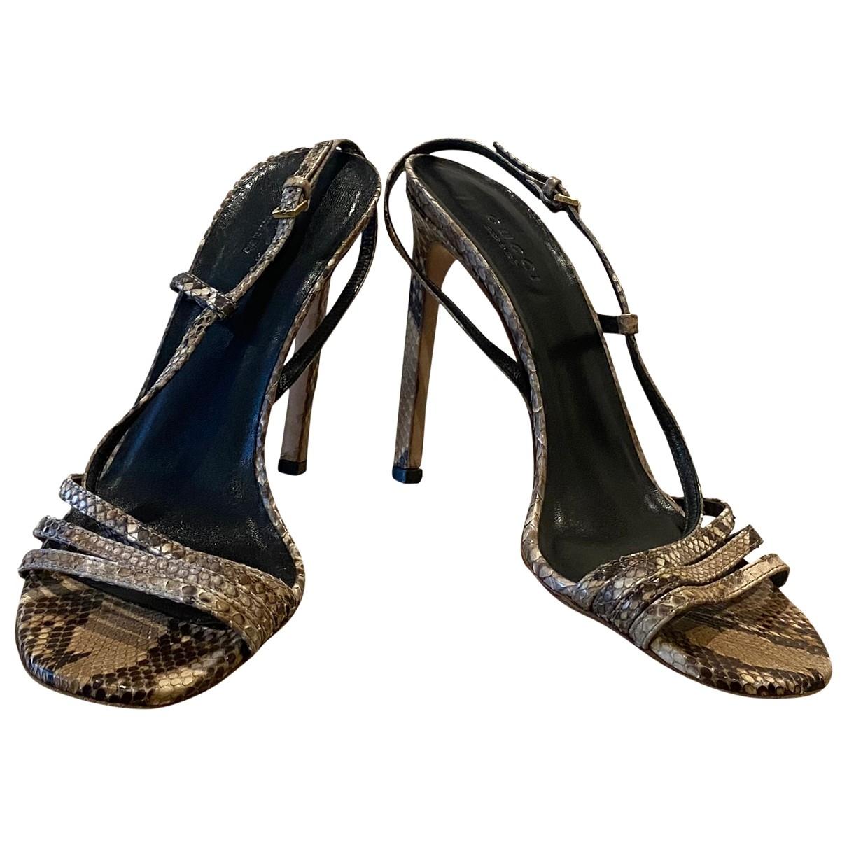 Gucci \N Brown Python Heels for Women 37.5 EU