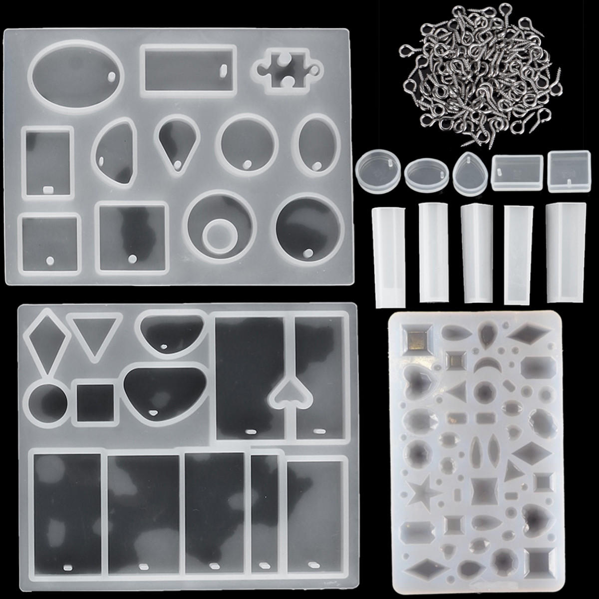 113Pcs DIY Resin Casting Mould Pendant Molds Jewelry Making Silicone Craft Kit