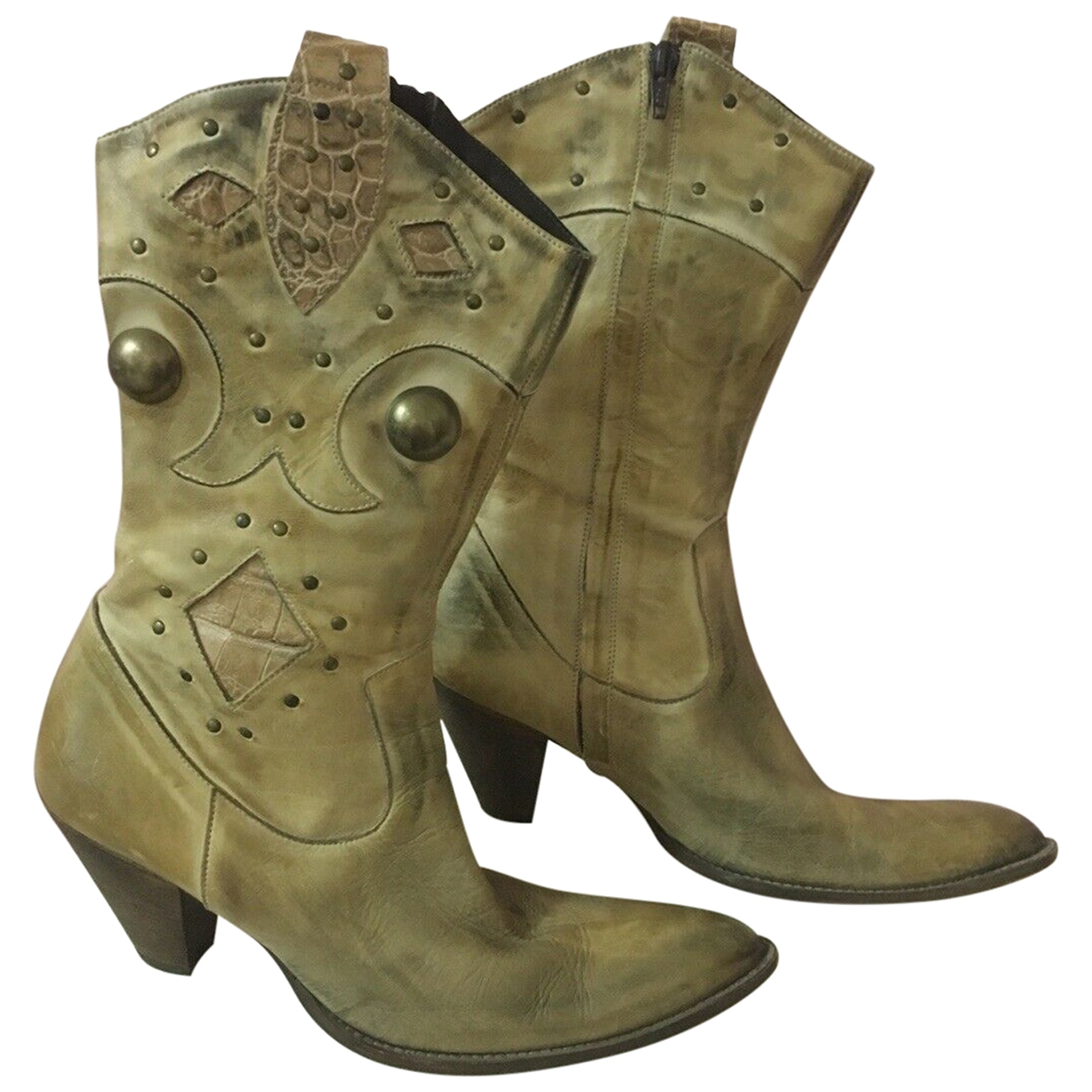 Non Sign?? / Unsigned \N Beige Leather Boots for Women 40 EU