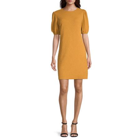 London Style Short Sleeve Textured Shift Dress, 4 , Yellow