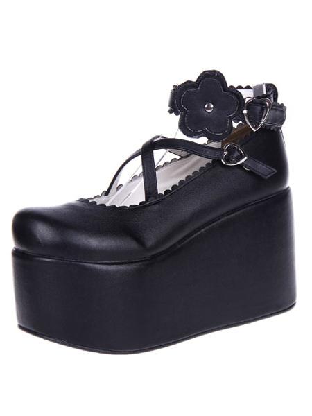Milanoo Black Lolita Shoes Platform PU Lolita Flatform Shoes