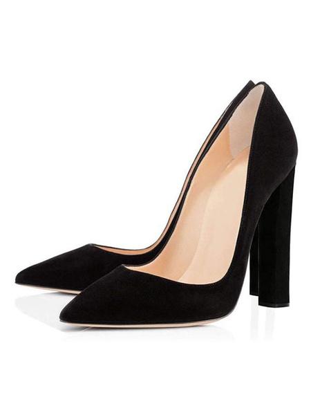 Milanoo Zapatos de tacon alto de ante con punta estrecha para mujer Tacones altos sexy Tacones altos Negro