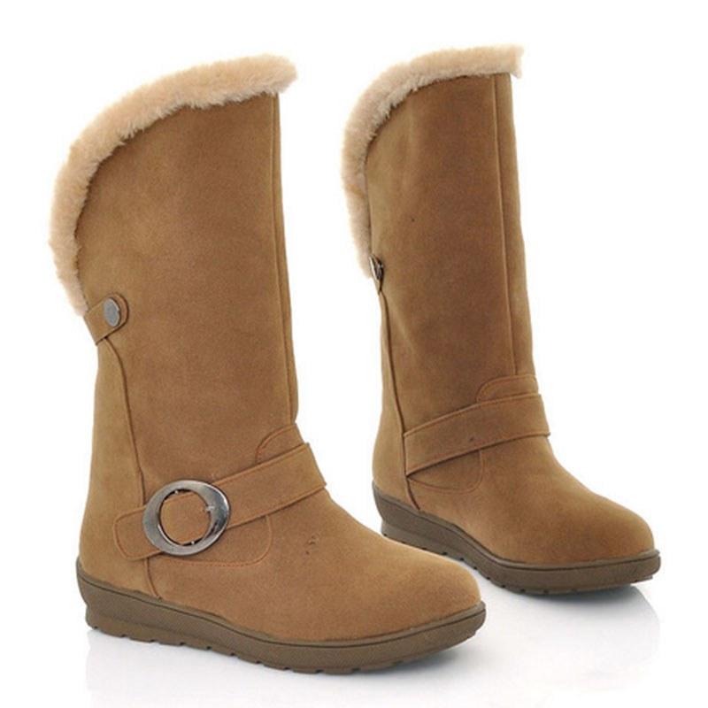 Ericdress Faux Fur Slip-On Plain Round Toe Women's Snow Boots
