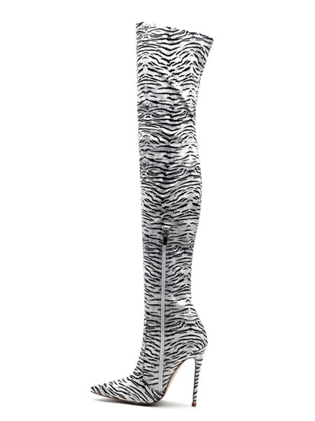 Milanoo Thigh High Boots Womens Polyster Zebra Print Pointed Toe Stiletto Heel Over The Knee Boots