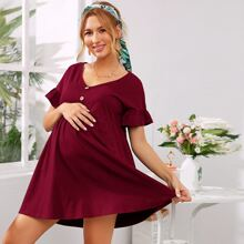 Maternity Button Detail Flounce Sleeve Smock Dress