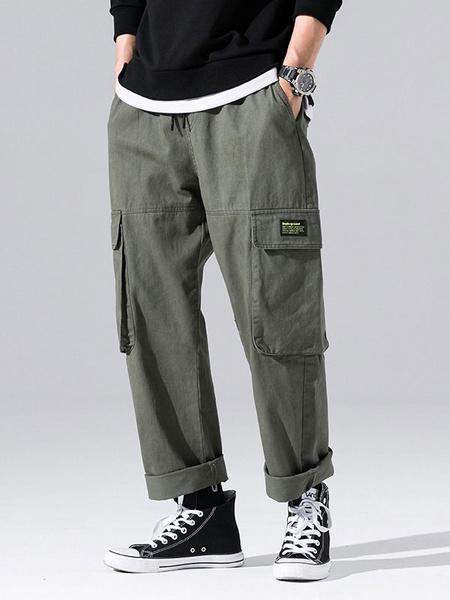 Milanoo Pants For Men Casual Natural Waist Straight Cargo Pant Green Men\'s Pants