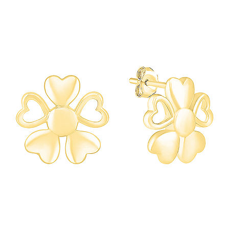 Plain Metal 10K Gold 12.8mm Flower Stud Earrings, One Size , No Color Family