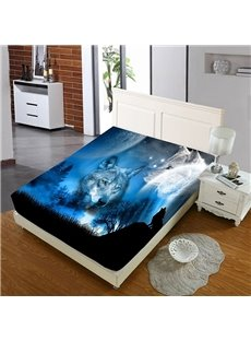 The Wolf In The Blue Moonlight Reactive Printing 1-Piece Polyester Bed Cover / Mattress Cover