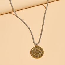 Men Greek Coin Charm Necklace