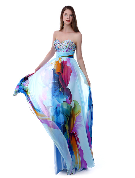 Milanoo Long Prom Dresses 2020 African Print Prom Dress Strapless Backless Floral Print Beading Sweetheart Chiffon Party Dress