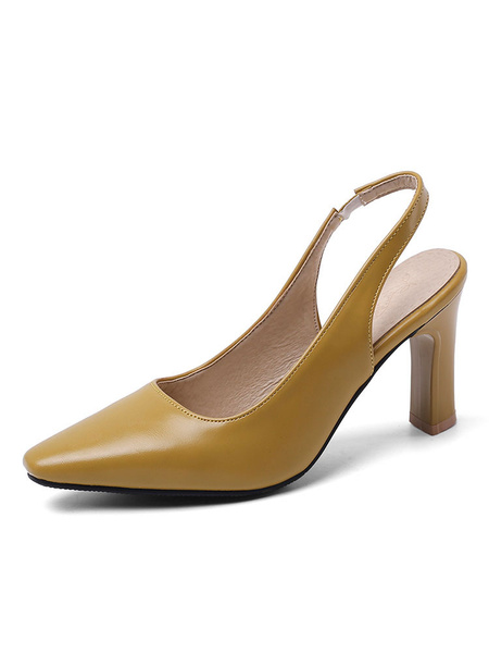 Milanoo Slingback Heels Square Toe Pumps Plus Size Shoes