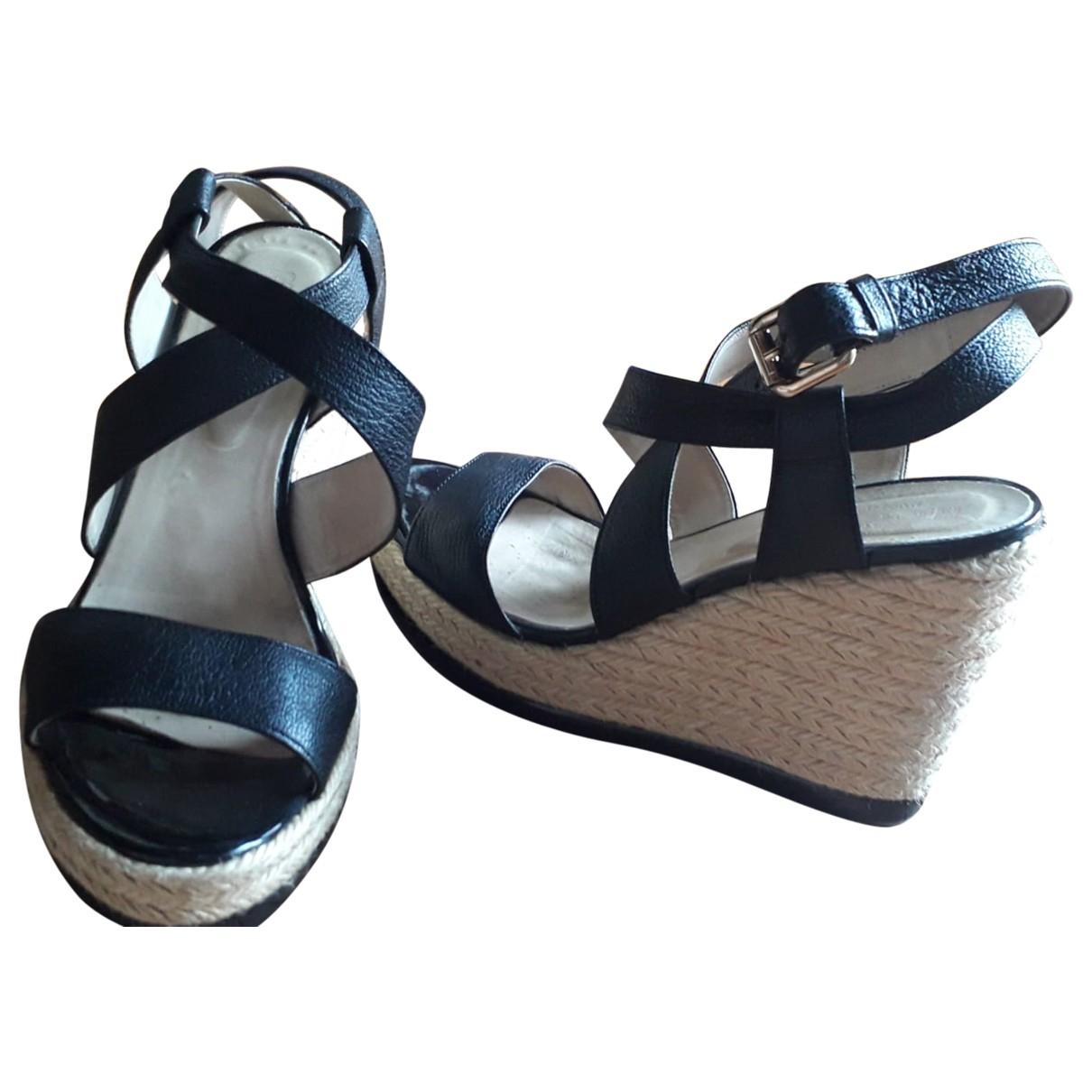 Hogan \N Black Leather Sandals for Women 38 EU