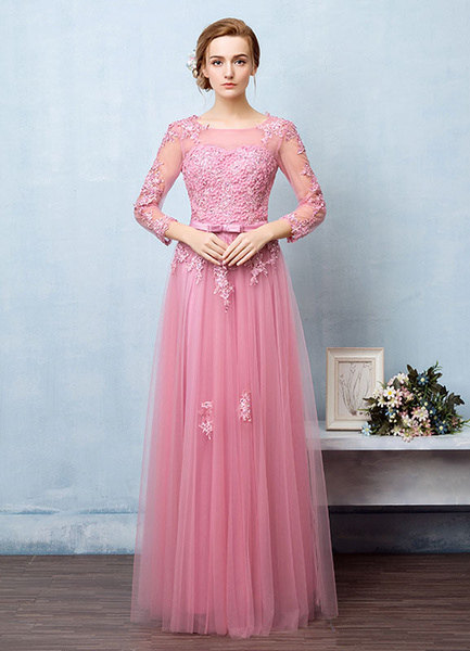 Milanoo Tulle Evening Dress Backless Beading Flower Applique Prom Dress Illusion Neckline A Line Long Sleeve Maxi Party Dress With Bow Sash wedding gu