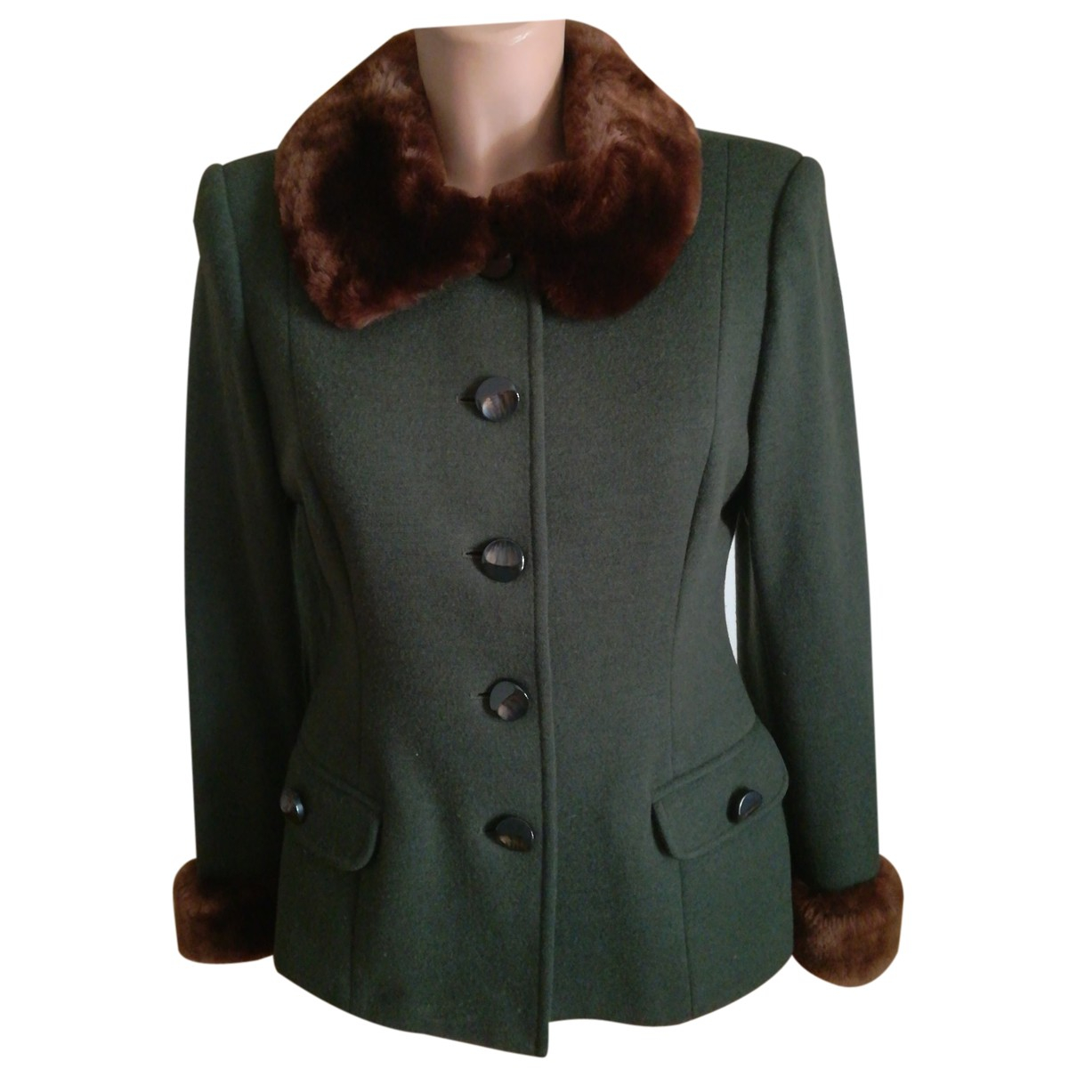 Non Signé / Unsigned \N Green Wool jacket for Women 46 IT