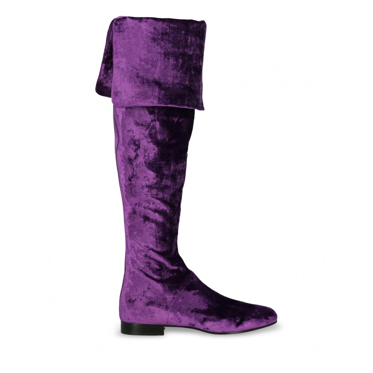 Alberta Ferretti \N Purple Velvet Boots for Women 36 IT