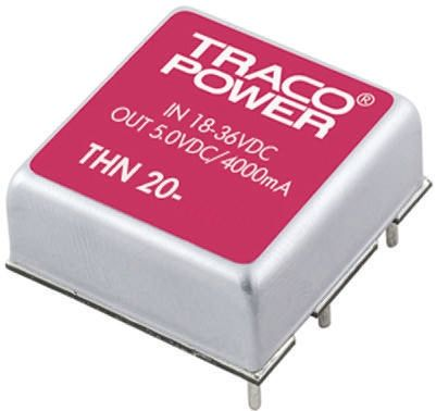 TRACOPOWER THN 20 20W Isolated DC-DC Converter Through Hole, Voltage in 18 → 36 V dc, Voltage out ±12V dc