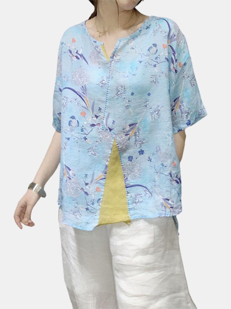Floral Printed Patchwork V-neck Overhead Half Sleeve Shirt For Women