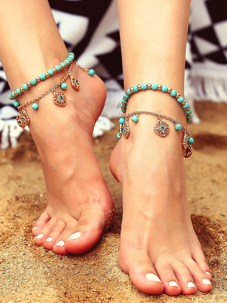 Milanoo Boho Anklet Bracelet Beaded Flower Beach Jewelry