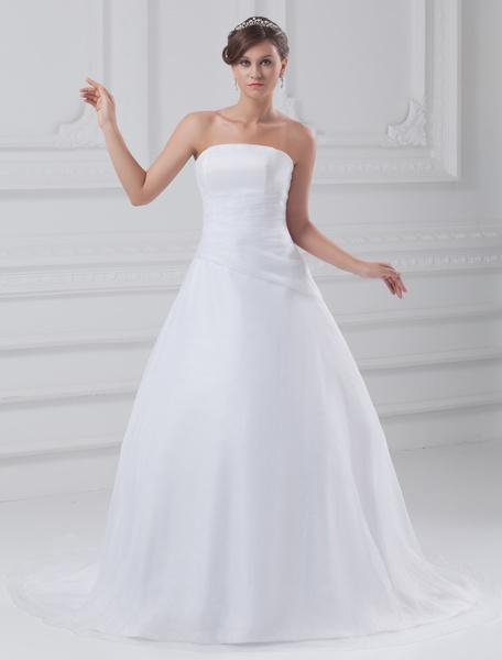 Milanoo White Ball Gown Strapless Tiered Organza Bride's Wedding Dress