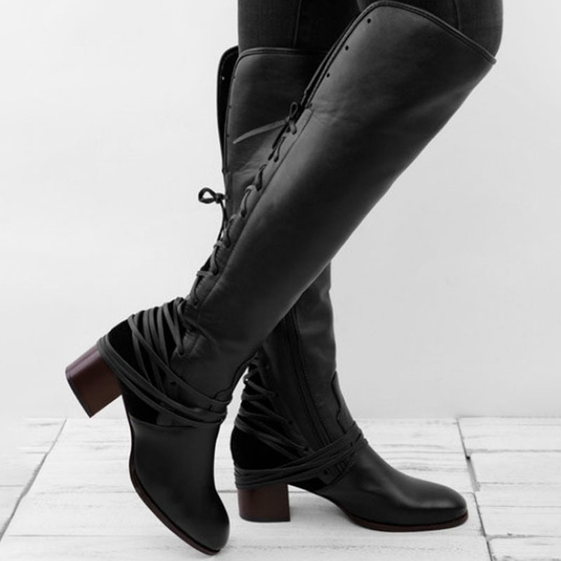 Ericdress Color Block Side Round Toe Cross Strap Boots